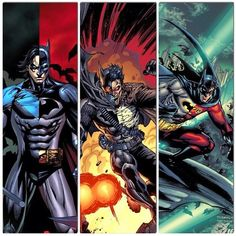 Nightwing, Red Hood, and Robin.  Three brothers all fighting for their father's throne.