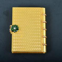 Cartier 18k Yellow Gold Tourmaline Flower Guilloche Enamel Compact Box.