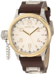 Invicta Men's 10474 Russian Diver Silver Dial Watch Invicta. $139.99. Water-resistant to 100 M (330 feet). Silver textured dial with gold tone hands, hour markers and arabic numerals; 18k gold ion-plated stainless steel bezel; secured screw-down cap on crown at 9:00; special edition. Swiss quartz movement. Gold tone second hand. Flame-fusion crystal; stainless steel case; brown leather strap with stainless steel barrel inserts
