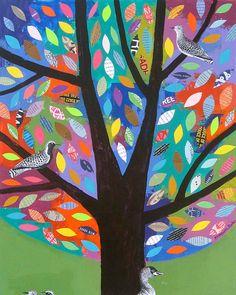 Birds in a Tree Collage impasto FREE SHIP by ElizabethRosenArt