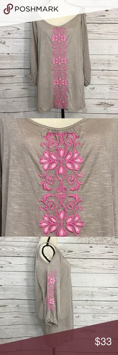 """INC International Concepts Cold Shoulder Top NWOT Gorgeous taupe, long sleeve, cold shoulder blouse with pink floral embroidery down the front and on the sleeves. The sleeves have an elastic hem. New without tags. Bust: 43""""; length from the shoulder to the hem: 30 1/2"""". Measurements are approximate. Smoke free home. 🌺Thank you for shopping my closet 😊🌺 INC International Concepts Tops Blouses"""