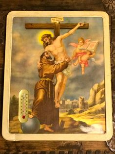 Religious Print/Lithograph with Working Thermometer by LaCasitaVintage on Etsy https://www.etsy.com/listing/222684915/religious-printlithograph-with-working