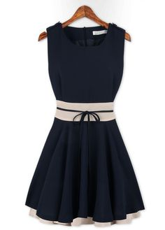 Mature Tank Style Sheared Waist Skater Dress - Navy Blue on Luulla by ana9112