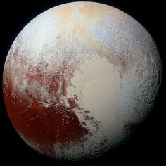 Pluto This super image comes from the Ralph/Multispectral Visual Imaging Camera on New Horizons. It combines blue, red and near infrared (NIR) images.