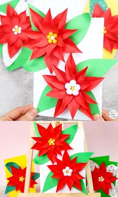 Paper Christmas Decorations, Christmas Card Crafts, 3d Christmas, Christmas Origami, Christmas Cards To Make, Xmas Cards, Diy Arts And Crafts, Paper Crafts, Mexico Christmas