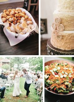 Love that ruffled buttercream wedding cake! See more from this golden outdoor wedding in the Tri-Cities! Catering by Main Street Catering, cake by @embreehouse, rentals and decor by @southernknotwed, pics by @andrewerinphoto | The Pink Bride® www.thepinkbride.com