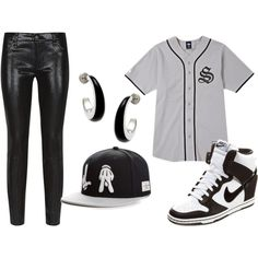 """Grey and Black Swag"" by jeweliana86 on Polyvore. Baseball Jersey. Nike High Tops. Snapback Outfit. Shiny Black Skinnies. Urban Outfit. Sporty Outfit. Urban Fashion. Hip Hop Fashion. Hip Hop Outfit. Swag. Dope. Streetwear"