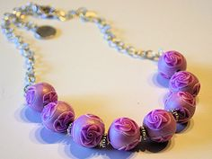 pink polymerclay beads with millefiori roses - Polymerclay by KVJ