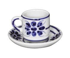 Xícara para Café com Pires Floral - 50ml