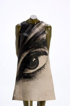 "Harry Gordon, graphic designer and creator of ""Paper poster"" dresses which were sold for $3 each. This dress is called Mystic Eye and the eye belongs to Audrey Hepburn. This dress dates c1968"