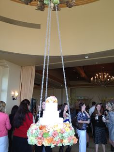 Fab looking hanging Cake. Simon Hill for WIPA meeting. Floral by Nisie's Enchanted Florist Enchanted Florist, Wedding Decorations, Wedding Ideas, Swings, Southern California, June, Chandelier, Birthday Cake, Birds