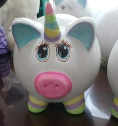 Pig Bank, Pig Party, Cute Crafts, Margarita, Pottery, Clay, Baby Shower, Ceramics, Projects
