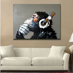 Libaoge Modern Gorilla Monkey Music Oil Painting Wall Painting Canvas Painting Home Decor Oil on Canvas Inches Bob Ross Paintings, Paintings Famous, Cheap Paintings, Animal Paintings, Oil Painting Pictures, Pictures To Paint, Oil Painting On Canvas, Music Painting, Painting Studio