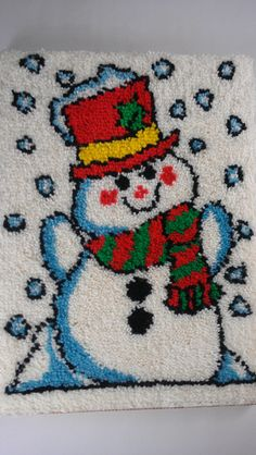 "#Snowman Latch Hook Rug Carpet Framed #Art Large 20 27"" http://etsy.me/1Z3dAOM #vintage #etsy #winter #gifts"
