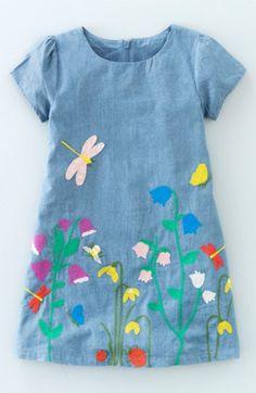 Main Image - Mini Boden 'Pretty Meadow' Embroidered Denim Dress (Toddler Girls, Little Girls & Big Girls) Toddler Girl Dresses, Little Girl Dresses, Toddler Outfits, Kids Outfits, Girls Dresses, Toddler Girls, Girls Denim Dress, Pageant Dresses, Baby Boys