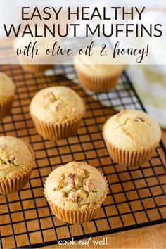 These healthy walnut muffins with olive oil and honey are the perfect combination of sweet and nutty, They work equally well with melted ghee and a drizzle of honey for breakfast, plain with a salad for lunch, or as a substitute for a dinner roll. Healthy Muffin Recipes, Healthy Muffins, Healthy Dessert Recipes, Healthy Treats, Snack Recipes, Healthy Breakfasts, Healthy Foods, Desserts, Postres