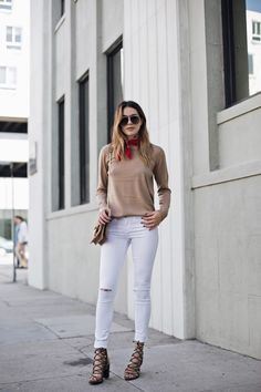 Style Blogger, Brittany of Thrifts and Threads in our Margaux Sweater + White Distressed Skinny Jeans. Available on www.norestforbrid.... #styleblogger