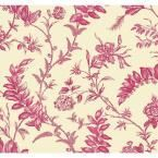 Williamsburg Solomon's Seal Wallpaper, Ivory/Bright Pink/Pink
