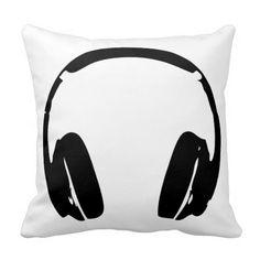 Hip Hop Headphones Decor Throw Pillow
