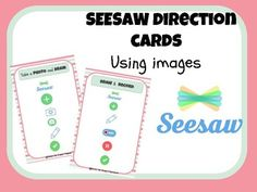 Seesaw Direction Cards Seesaw Direction Cards,Seesaw Want to start using seesaw in the classroom? With these cards you can help students successfully post to their seesaw accounts. Each card uses images to walk students. Blended Learning, Fun Learning, Teaching Technology, Technology Integration, Teaching Biology, Digital Technology, Teaching Resources, Teaching Ideas, Seesaw App