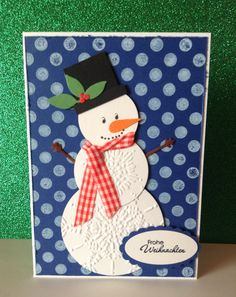 Katrin Winter made an adorable snowman out of paper embossed with the Northern Flurries Embossing Folder.