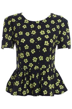 #Romwe Flouncing Green Floral Blouse