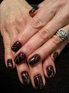 Sole Fetish Nails Shellac color and glitter with designs Nail Stylist- Jae