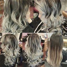 Grey ombre hair.