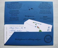 Blue & Green Airplane & Hawaiian Islands Map Airline Ticket Wedding Invitations