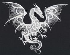 Dragón de humo  bordado