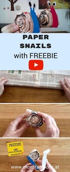 Schnecken aus Zeitungspapier, newspaper snails with Freebie, Schnecken basteln, DIY Schnecken für den Frühling, Kindergarten