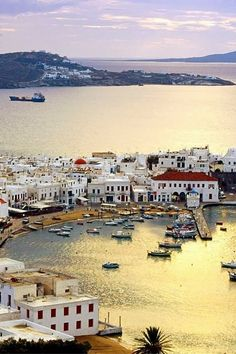 Mykonos Harbour, Greece http://www.pinterest.com/halinalis/breathtaking-view/