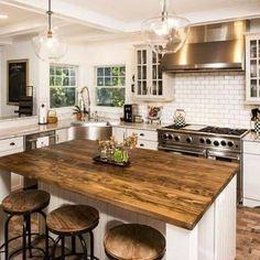 Farmhouse Kitchen Island, Modern Kitchen Island, Modern Farmhouse Kitchens, Home Kitchens, Kitchen Islands, Small Kitchens, Wooden Island Kitchen, Kitchens With Islands, Kitchen Island Shapes