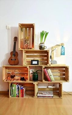 DIY Wood Pallet Crate Storage & Decorations is part of Wooden diy - amazing way is to convert old pallet boards into amazing storage crates! Tryout these DIY pallet crate storage solutions and decor to get your home uncluttered Wooden Pallet Furniture, Home Furniture, Wooden Crates, Garden Furniture, Furniture Storage, Wooden Boxes, Wood Pallets, Pallet Crates, Luxury Furniture