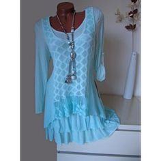 Fein Strick Zipfel Tunika Kleid + Unterkleid Spitze Volant A-Form min
