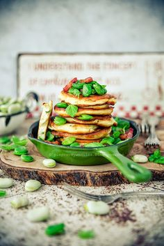 ... ricotta pancakes with fava beans and mint ...