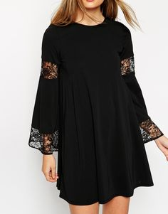 ASOS Boho Swing Dress With Long Sleeve And Lace Inserts
