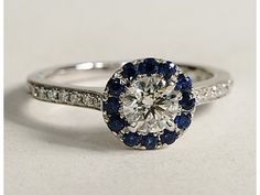 #Engagement Ring 1.75 CT GIA ROUND DIAMOND & BLUE SAPPHIRE HALO FLOWER ENGAGEMENT BRIDAL RING 14K