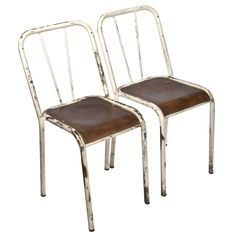 French Industrial Stacking Chairs - A Pair on Chairish.com