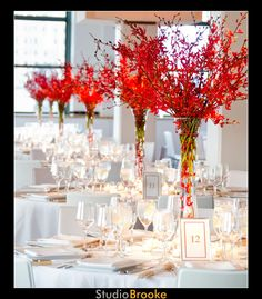Tall Red and White Centerpieces.