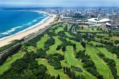 Durban Country Club will play host to the 2014 Volvo Golf Champions, overlooked by the majestic Moses Mabhida Stadium News South Africa, South Afrika, Sa Tourism, City By The Sea, Outdoor Pictures, Best Golf Courses, Kwazulu Natal, Africa Travel, Aerial View
