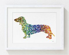 This is an Archival Print of my original watercolor painting Geometric Dachshund with minimal digital art enhancement and editing. Signed on the front.