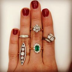 Which vintage ring would you wear to spruce up your New Years outfit?? #newyears #jewelry #love #instajewels #fun #unique #antique #finds #diamonds #showmeyourrings #vintage #emerald #flower #gold #sparkle #bling #singlestone @singlestonemissionstreet