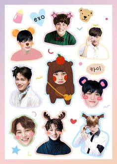 Exo Stickers, Tumblr Stickers, Printable Stickers, Cute Stickers, Laptop Stickers, Exo Kai, Sehun, K Pop, Bts Chibi