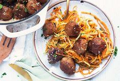 Sesame Turkey Meatballs with Veggie Noodles - Food & Nutrition Magazine - Stone Soup Butternut Squash Noodle, Butter Crackers, Vegetable Noodles, Stone Soup, Low Sodium Soy Sauce, Turkey Meatballs, Food Nutrition, Noodle Recipes, Meals For One