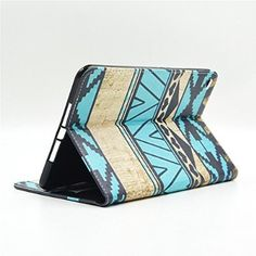 Yakamoz Folio Case for iPad mini 4 4th Gen Robort Aztec Andes Tribal Print Leather Flip Card Slots Stand Case Cover with Free Stylus Pen
