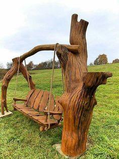 Build Your Own Rustic Wooden Swing Chair Construa sua própria cadeira de balanço de madeira rústica Wooden Swing Chair, Wooden Swings, Swinging Chair, Rustic Industrial Decor, Rustic Decor, Rustic Wood, Diy Wood, Modern Rustic, Log Furniture