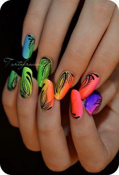 Rainbow Gradient Nail Art