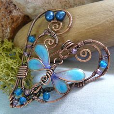 Heart Shaped Wire Wrapped Copper Dragonfly by kellscreations, $47.00