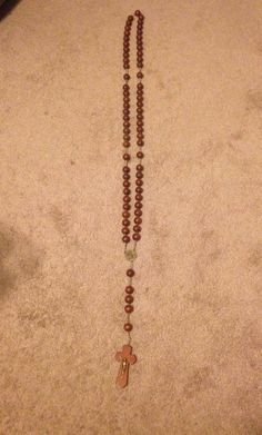"Vintage Ste Anne De Beaupre 49"" Wood Wooden Catholic Nun Christian Large Rosary"